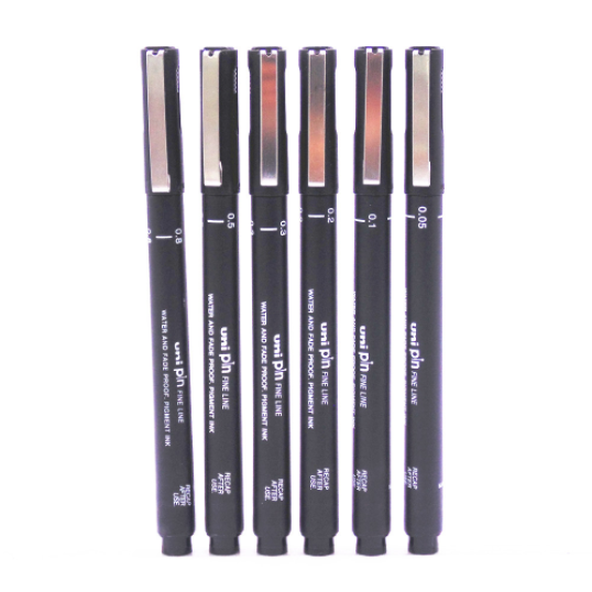 Uniball Drawing Pens Black (Pack of 6) - Shakespurr