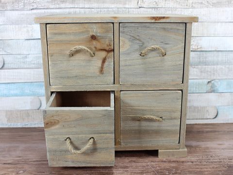 Wooden 4 Drawer Storage Jewellery Box With Rope Detail