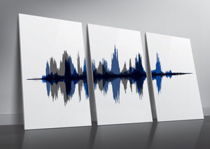 Three Piece Set Cotton Canvas Sound Wave Prints | PAPER/CANVAS