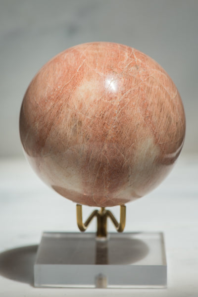Large Peach Moonstone Sphere - Sacred Light Soundbaths and Crystals