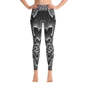 Static Thought Flower 2- Yoga Leggings