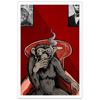 Smoking Monkey - 12x18 Print
