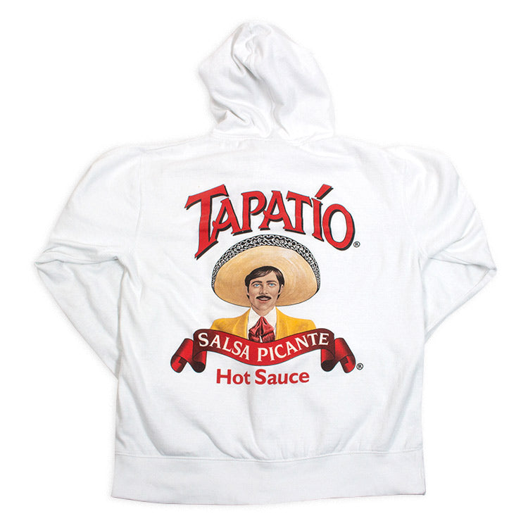 *Tapatio Logo Zippered Hoodie in White*
