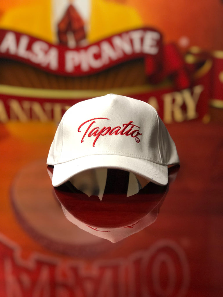 Tapatio Red Script Hat in White