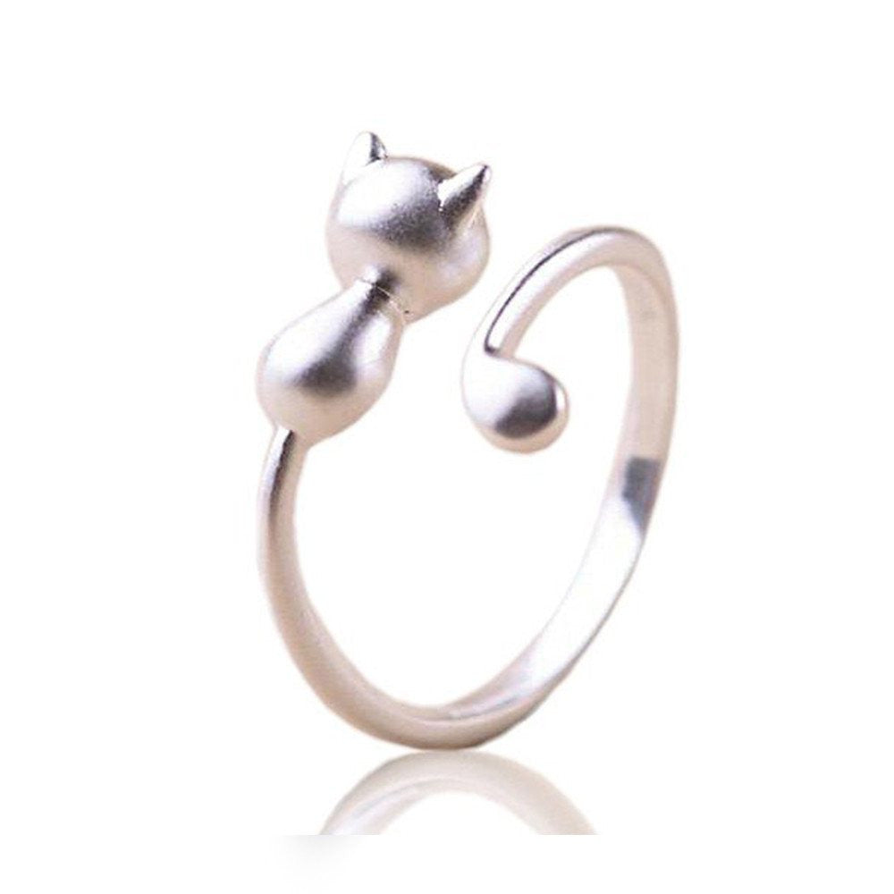 Open Sterling Silver Cat Ring
