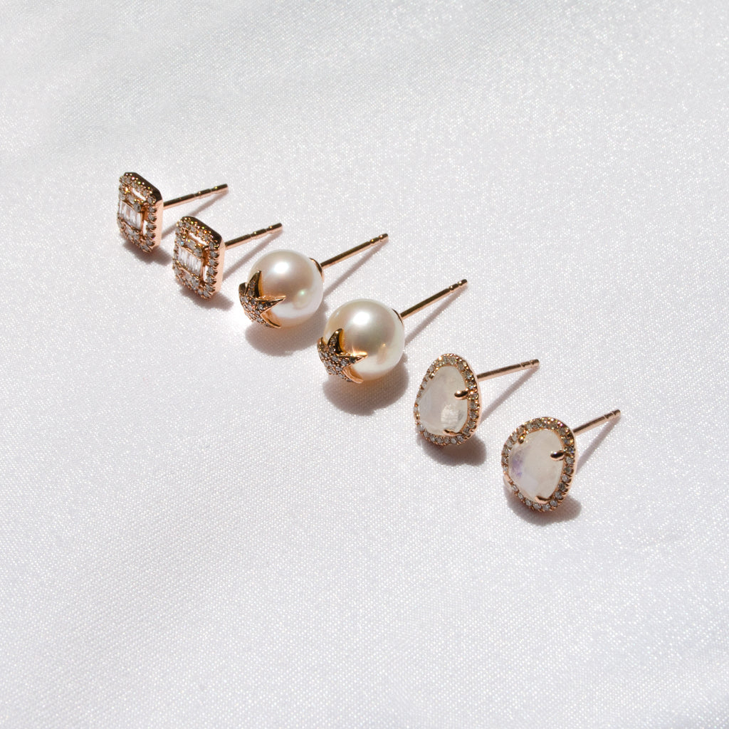 Diamond and Moonstone Earrings