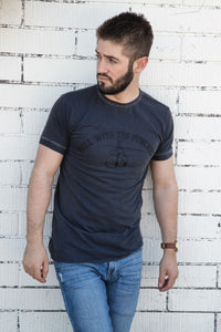 Cotton Slub Short Sleeve Tee-Roll with Punches