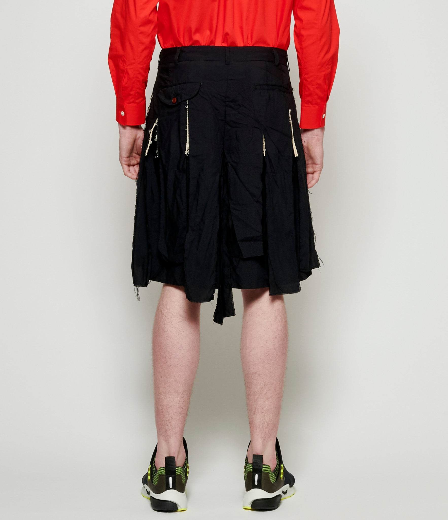 Comme Des Garcons Homme Plus Polyester Spun Broadcloth Cut-Out Over-Layer Shorts