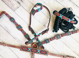 Teal and Red Beaded 4 Piece Tack Set