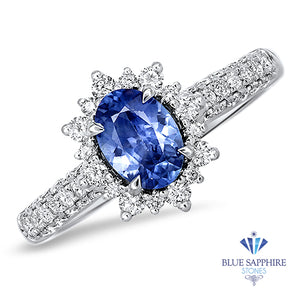 0.85ct. Oval Blue Sapphire Ring with Diamond Halo in 18K White Gold