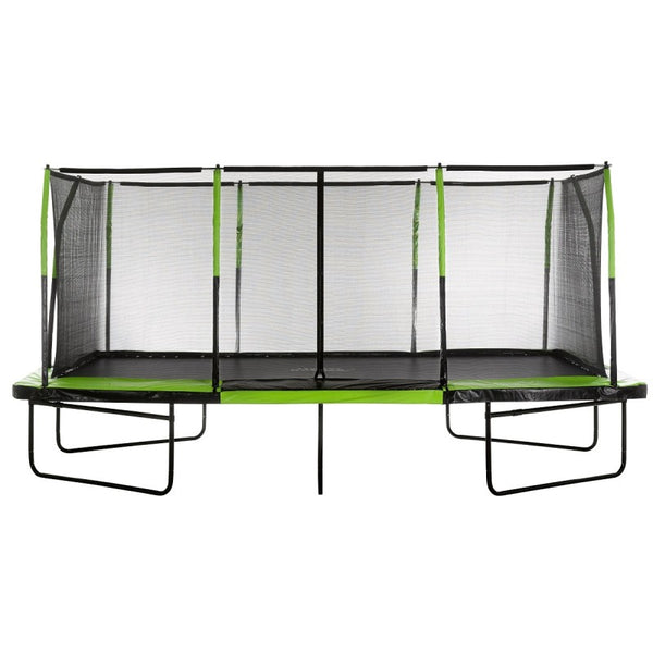 Upper Bounce Easy Assembly Mega 10ft X 17ft Rectangular Trampoline with Fiber Flex Net Enclosure On Sale Online for the best price with free shipping and no sales tax