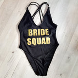 Bride Squad one piece monokini cross back swimsuit