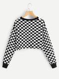 Checkered pullover fashion sweatshirt