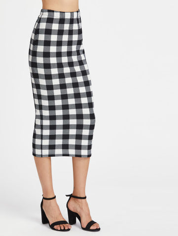 Checkered pencil midi bodycon skirt - Iconic Trendz Boutique