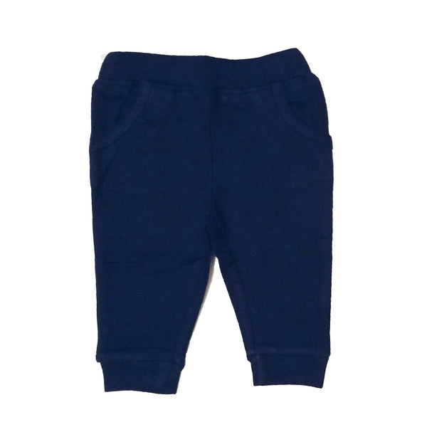 Organic navy blue sweatpants by Lucy Lue Organics. Made in the softest organic cotton. Your favorite organic baby brand. Winter baby clothes
