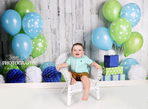 Kate Blue and Lime Green Birthday Children Backdrop for Photography Designed by Mandy Ringe Photography