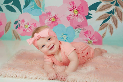 Kate Retro Spring Flowers Cake Smash Children Backdrop for Photography Designed by JFCC