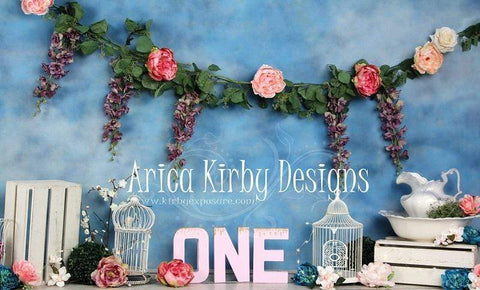 Kate 1st Birthday Floral Garden Backdrops print with ONE Designed by Arica Kirby