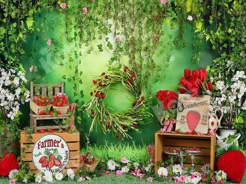 Kate Summer Strawberry and White Flower Green Leaves With Banners Birthday Backdrop for Photography Designed by Shutter Swan Studios