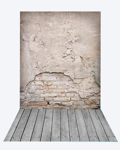 Katebackdrop:Kate Retro Damaged Cement Brick Backdrop+Gray Wooden Rubber floor mat