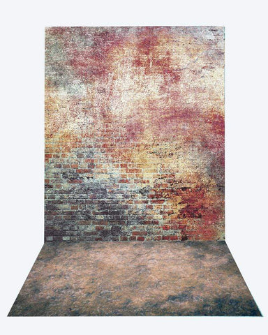 Katebackdrop:Kate Retro Brick backdrop + texture stone floor mat