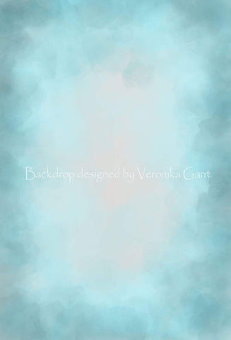 Kate Fine Art Watercolor Blend Blue Backdrop for Photography Designed by Veronika Gant