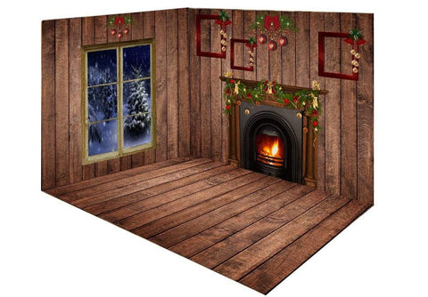 Katebackdrop:Kate Christmas Dark wood room set