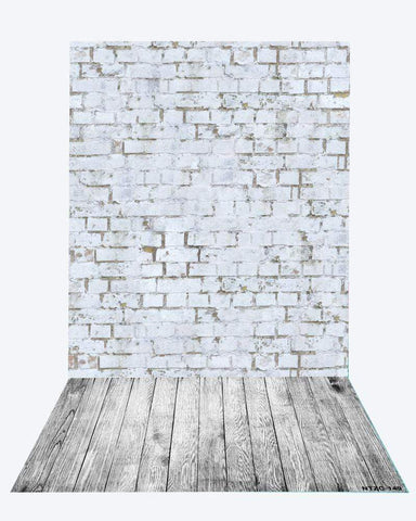 Katebackdrop:Kate Gray Brick backdrop + Gray wood floor mat