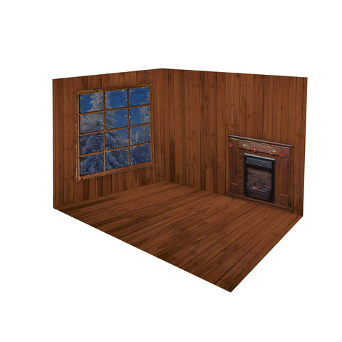 Kate Christmas Dark wood Fireplace Window room set