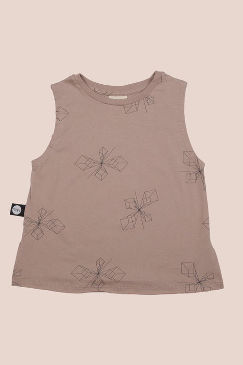 Baby dusty pink tank with perspective print