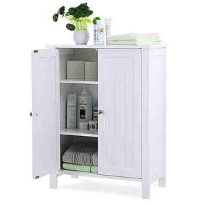 White Bathroom Floor Cabinet with 2 Doors and Adjustable Storage Shelves -   - Magneta Brand
