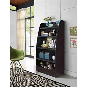 Kids 4-Shelf Bookcase in Espresso Wood Finish Childs Bedroom -   - Magneta Brand