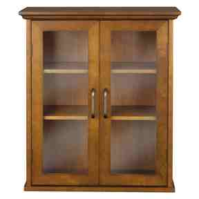 Oak Finish Bathroom Wall Cabinet with Glass 2-Doors & Shelves -   - Magneta Brand