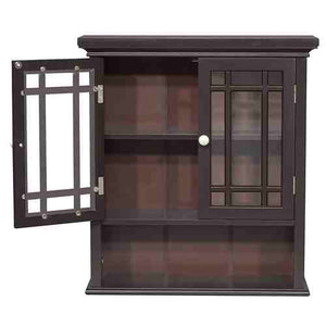 Dark Espresso 2-Door Bathroom Wall Cabinet with Open Shelf -   - Magneta Brand