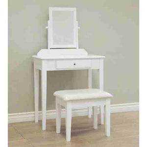 Contemporary White Vanity Set with Beveled Mirror -   - Magneta Brand