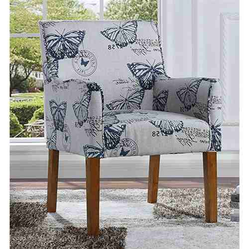 Modern Linen Upholstered Armchair with Blue Butterfly Pattern and Wood Legs -   - Magneta Brand
