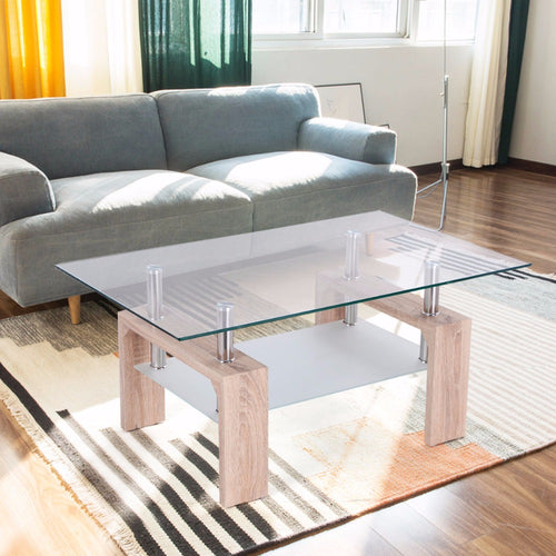 Glass Coffee Table with Storage Shelf -   - Magneta Brand