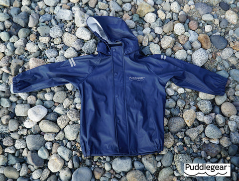 Puddlegear Kids Navy Raincoat with Hood