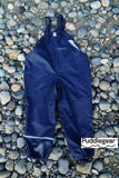 Puddlegear Kids Rain Pants in Navy Blue (bib, overall, shell style)