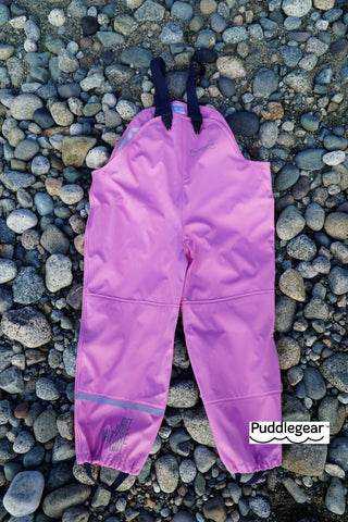 Puddlegear Kids Rain Pants in Pink (bib, overall, shell style)