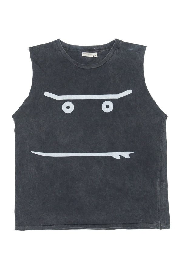 NEW SMILEY TANK TOP CHARCOAL