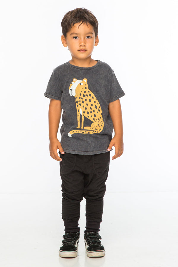 CHEETAH S/S ROUND NECK T CHARCOAL - Zuttion