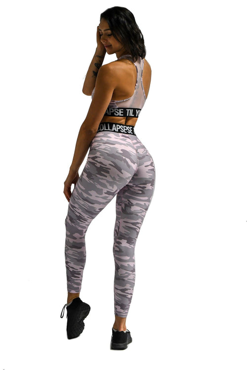 Effortless Branded Leggings- Light Pink Camo