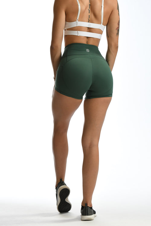 Effortless Heart Booty Shorts- Forest