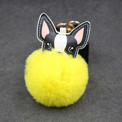 Image of Pompon Porte-clés - Jaune - Lovely bouledogue