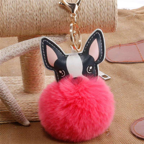 Image of Pompon Porte-clés - Rouge clair - Lovely bouledogue
