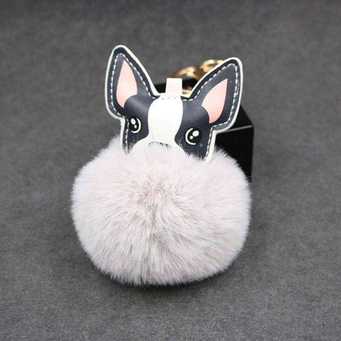 Image of Pompon Porte-clés - Gris clair - Lovely bouledogue