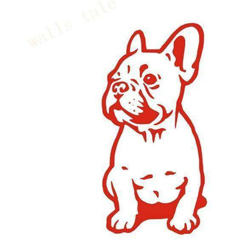 Stickers Bouledogue Français (Voiture, mur, etc...) - Rouge / 28 cm x 13 cm - Lovely bouledogue