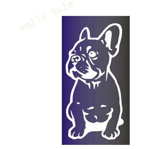 Stickers Bouledogue Français (Voiture, mur, etc...) - Blanc / 28 cm x 13 cm - Lovely bouledogue