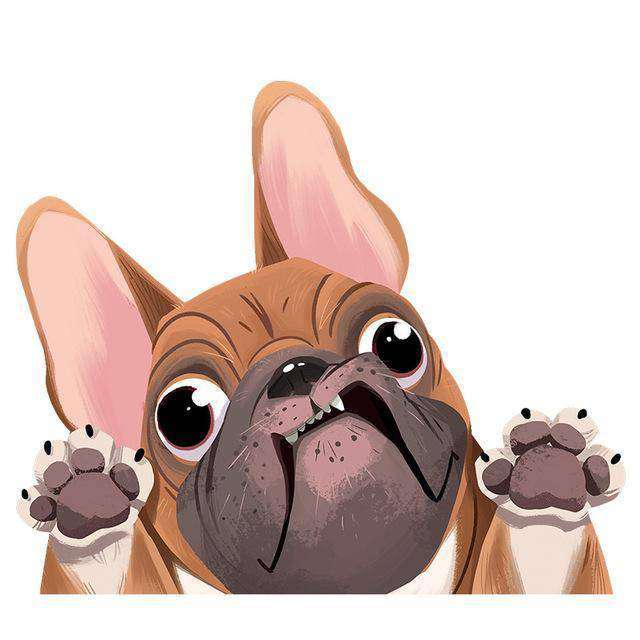 Stickers 3D - Marron - Lovely bouledogue